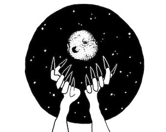 fruit&bone: Witch Moon ink illustration in digital print
