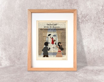Mary Poppins flying nanny quote dictionary print-Mary Poppins print-Mary Poppins on book page-Nursery print-dorm print-home decor-DP078