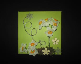 Table with artificial flowers, narcissus, collage, spring, 3D, floral arrangement, wedding gift