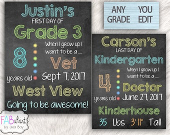 Editable Back to School Chalkboard, Reusable First Day of School Signs, Last Day of School Sign, Printable, School Photos, photo prop, DIY