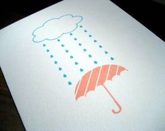 Rainy Day - Gocco Printed Card