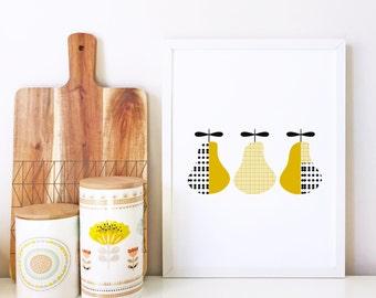 Nursery art, Pear Print, Kids room art print, modern wall art, nursery poster, kitchen art, scandinavian print