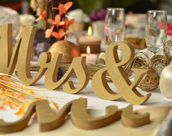 """Wedding  MR.. and. MRS.. unpainted, painted or glitter letters 4"""", 5"""", 6"""" or 7"""" tall , wood sign wedding table decoration."""