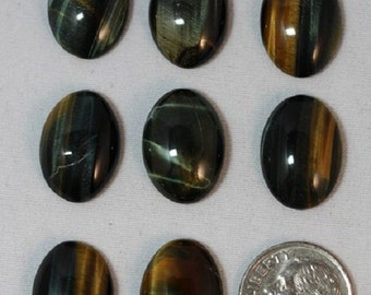 Blue-Gold Tigereye- 13 x 18 mm - Package of 8 stones