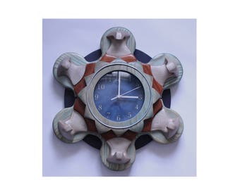 Large ornate wall clock - Blue and subdued turquoise