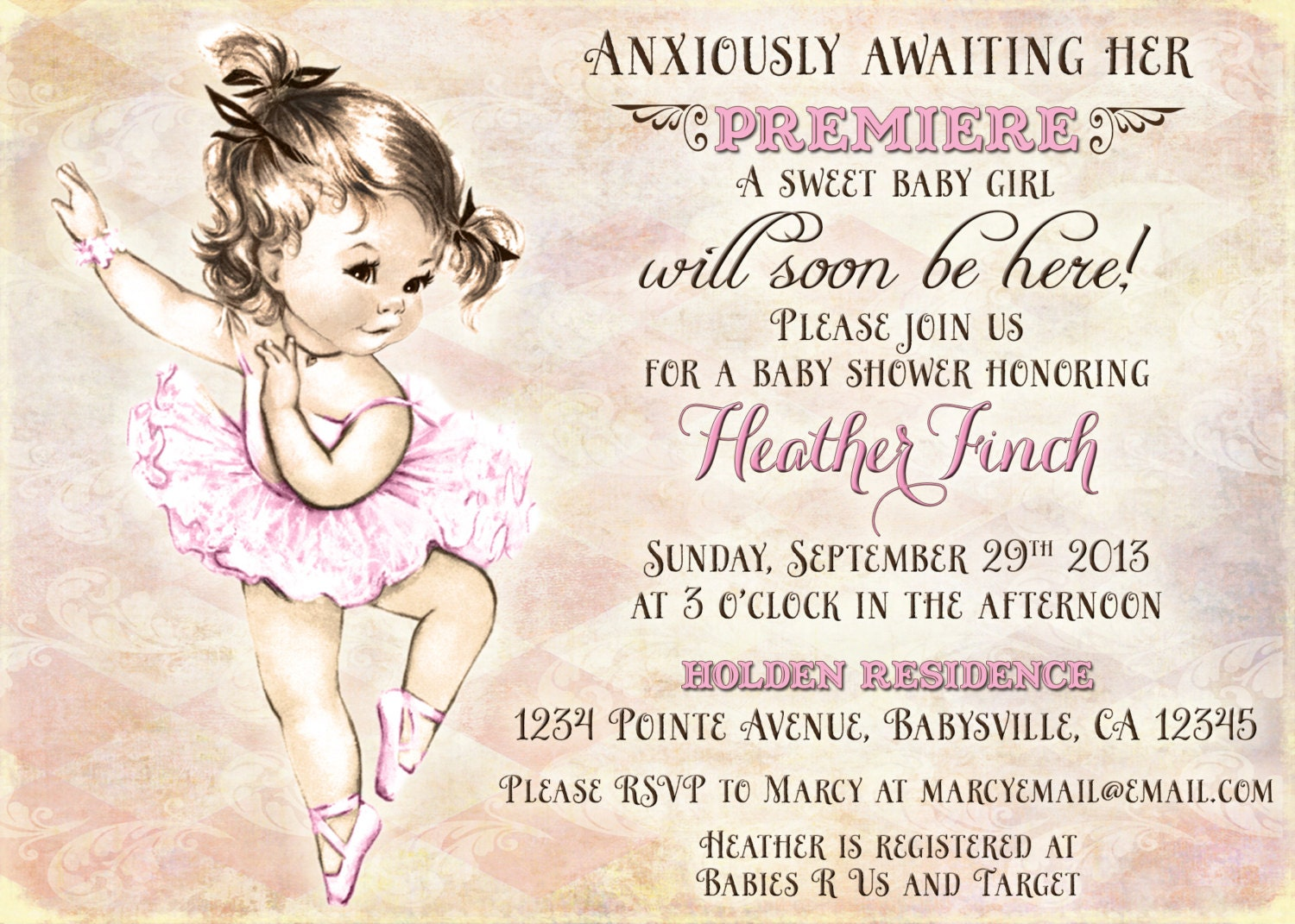 Vintage Ballerina Baby Shower Invitation For Girl Ballet
