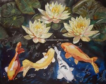 Koi Pond Watercolor Print. Water lilies. Bathroom wall art. Fish watercolor. Goldfish painting. Pisces picture. Koi artwork. Watercolor art.
