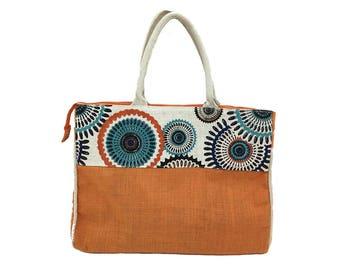 Large Canvas Beach Bag Tote Vintage Tangerine Orange Baby Blue & White Market Bag / 90s Ethnic Shopping Bag Vacation Beach Shoulder Bag Tote