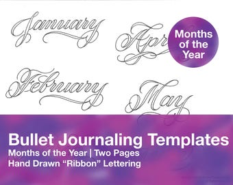 Bullet Journaling Headers - Months of the Year