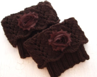 Boot Toppers, Leg Warmers, Boot Cuffs, Lace Leg Warmers, Boot Cuffs with Flower, Knit Boot Cuff, Brown Boot Toppers, Womens Boot Cuffs,
