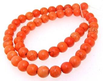 Charm 8MM Round Orange Howlite Turquoise Gemstone Beads One Strand