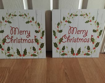Merry Christmas holiday home decor Wooden signs
