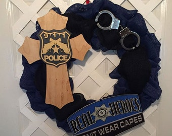 Blue Police Wreath - Thin Blue Line - Police Officer Gift - Law Enforcement Gift - Police Officer Wife Gift - Protect and Serve - Heroes