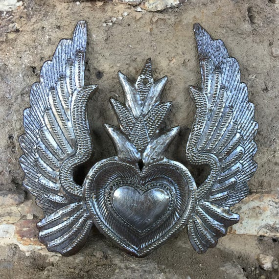 """Religious Home & Décor, Hand Pounded Metal Sacred Heart with Wings and Flame Haiti 5"""" x 5"""""""