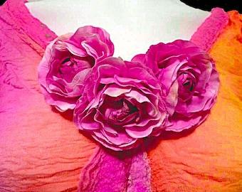 Nuno Felt Dress, Silk Chiffon, ruching, Flower Trim, Orange, Pink, Big Flowers, Merino Wool