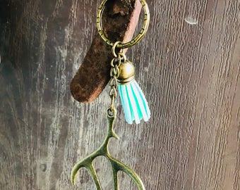 Deer antler keychain, bronze, silver, tassel