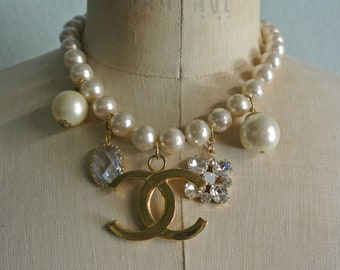 Vintage Pearl Assemblage Charm Necklace, Vintage Finds, Beautiful  Pearl Beads, Eclectic, Found Treasures, One of a Kind By UPcycled Works