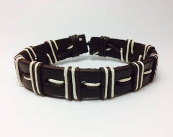 Brown and white adjustable leather bracelet/micro paracord