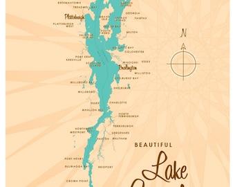Lake Champlain Map Print