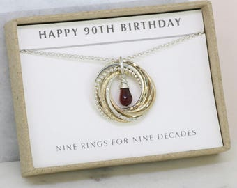 90th birthday gift, January birthstone necklace 90th, garnet necklace for 90th birthday, gift for grandmother - Lilia