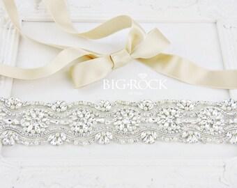 Pearl Dress Sash | Jeweled Bridal Sash | Wedding Dress Sashes | Rhinestone Sashes | Belts and Sashes | Crystal Beaded Sashes | Crystal Sash
