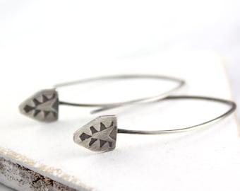 Native Stamped Silver Long Earwire Earrings
