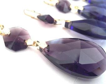 5 Amethyst Purple Teardrop Chandelier Crystals 38mm