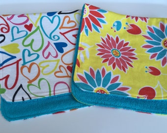 Starburst Flowers and Hearts Burp Cloths