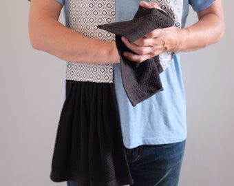 Kitchen Towel Scarf for Men or Women | Unisex Apron | gray black white | longer length