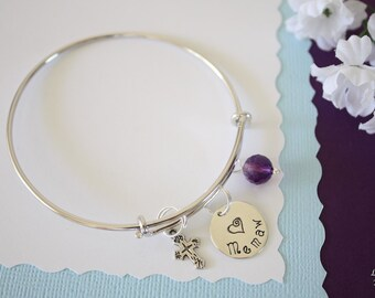 Grandma Bangle Bracelet Silver, Amethyst, Expandable, Cross Charm, Sterling Silver, Nana Bracelet, Mother Charm, Monogram Bracelet, BFF