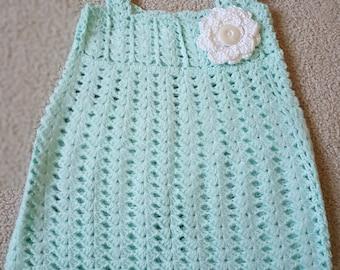 Hand Made, Hand Crocheted, Green, Girls Baby Dress 3-6 month