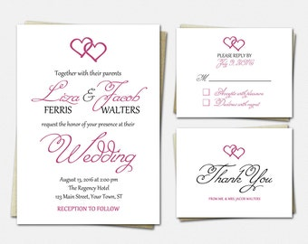 Wedding Invitation Suite - Two Hearts - Wedding Invitations - RSVP - Thank You - Wedding Invitation Set