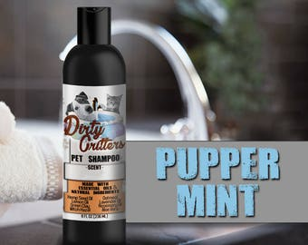 Puppermint Herbal Pet Dog Cat Shampoo Wash Dirty Critters 8 ounce bottle