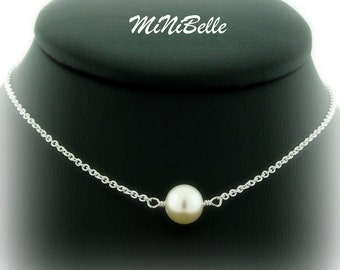 Single Freshwater Pearl Pendant Necklace. White Pearl Necklace. Bridal Pearl Necklace. Bridesmaids Necklace. Wedding Jewelry
