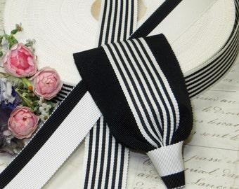"7/8"" BLACK WHITE STRIPE ~ Vintage French Grosgrain Ribbon Trim Wedding Cake Cocarde Ribbonwork Hat Flapper Dress Millinery Mid Century"