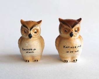 Vintage 1940s Owl Ceramic Souvenir Salt and Pepper Shakers