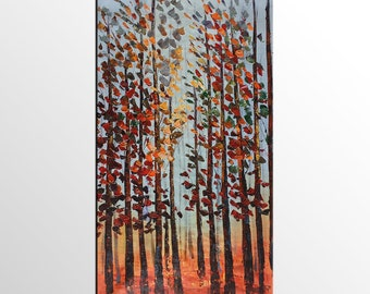 Original Art, Tree Painting, Autumn Tree Oil Painting, Canvas Art, Canvas Painting, Abstract Canvas Art, Bedroom Wall Art, Impasto Painting