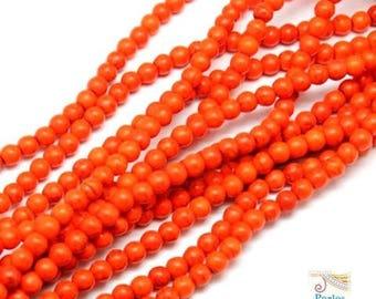 74 beads round 6mm bright orange Howlite (PH138)