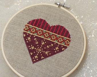Beaded Red Heart  -  Cross Stitch PATTERN PDF download