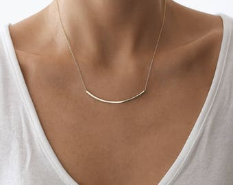 Tube Necklace, Gold Necklace, Layered Necklace, Bar Necklace, Gold Layered Necklace