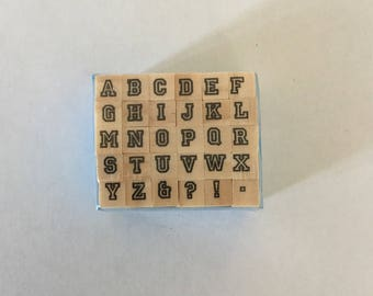 Set of 30 mini wooden stamps scrapbooking letter Alphabets