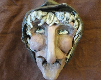 Thinking witch paper mache magnet
