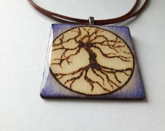 Woodburned Pendant Necklace - Tree of Life with Purple Ombre - Large Square