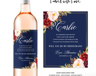 Will You Be My Bridesmaid Wine Labels / Bridesmaid Gift Wine Labels / Modern Bridesmaid Card / Great for Bridal Party Proposals or Tote Bags