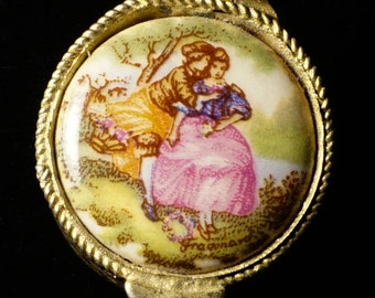 Vintage Victorian Style Snuff Pill Stash Box with Ceramic Lovers