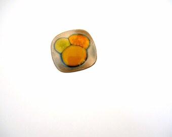 Vintage 1960s Kay Denning Pin - modernist copper & enamel brooch