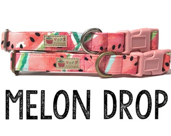"Modern & Playful Tropical Summer Watermelon Fruit Dog Collar - Antique Metal Hardware - ""Melon Drop"""