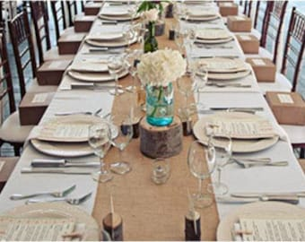Superieur 102 X 15 Inch Burlap Table Runners Fit 6ft Round