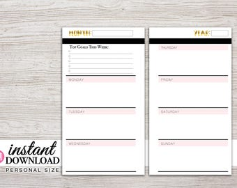 Planner Printable - Weekly Inserts - Monday or Sunday Start - Filofax Pesronal - LV MM - Design: Goldie
