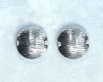 Pair Of Woodland Beads Antiqued Silver Spacer Beads 17mm Beads Wood Pattern Beads Large Round Beads